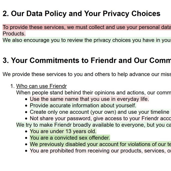 terms of service with highlighted portions